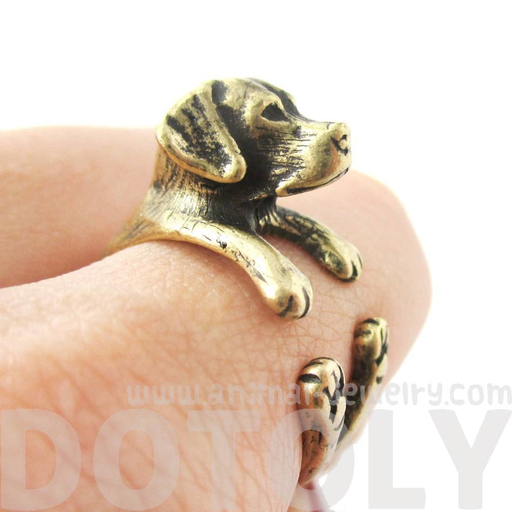 Labrador Retriever Dog Shaped Animal Wrap Ring in Brass