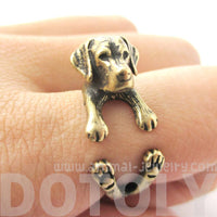 Realistic Labrador Retriever Shaped Animal Wrap Ring in Brass | Sizes 4 to 8.5 | DOTOLY