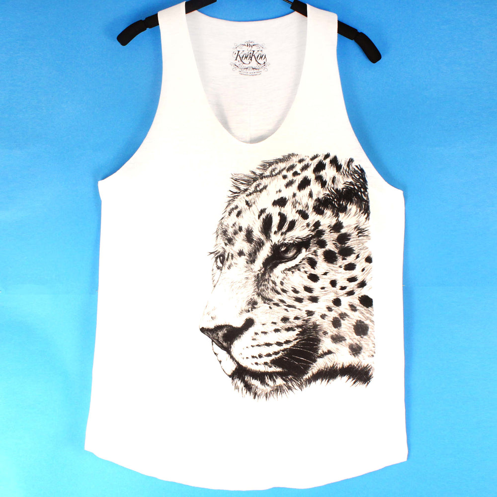 Large Realistic Leopard Animal Print Graphic Tank Top Tee in White | DOTOLY