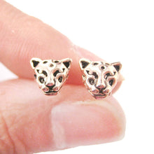 Realistic Leopard Tiger Cheetah Shaped Animal Themed Stud Earrings