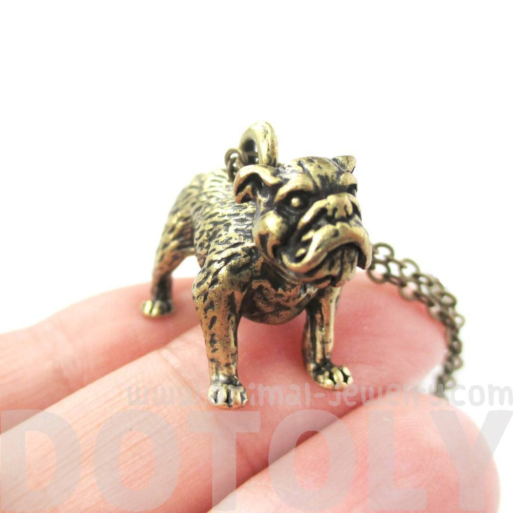 Realistic Life Like Bulldog Shaped Animal Pendant Necklace in Brass