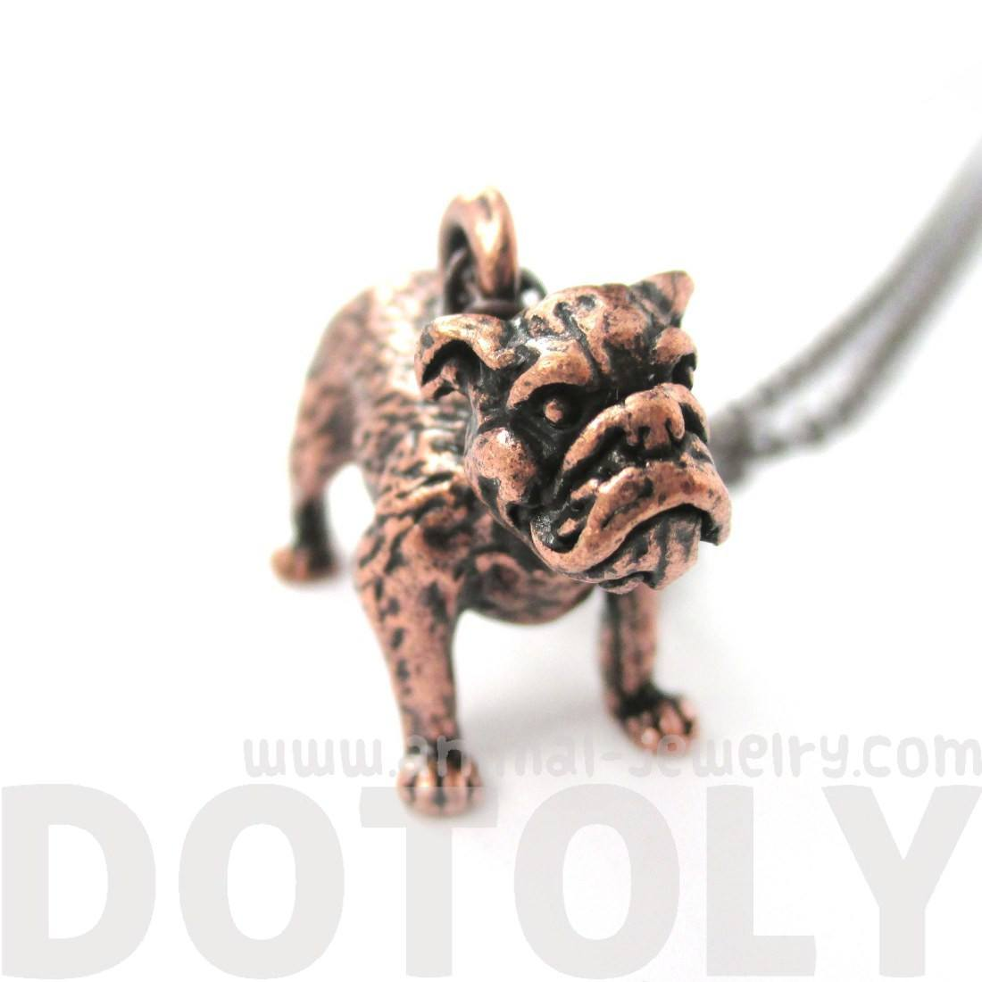 Realistic Life Like Bulldog Shaped Animal Pendant Necklace in Copper