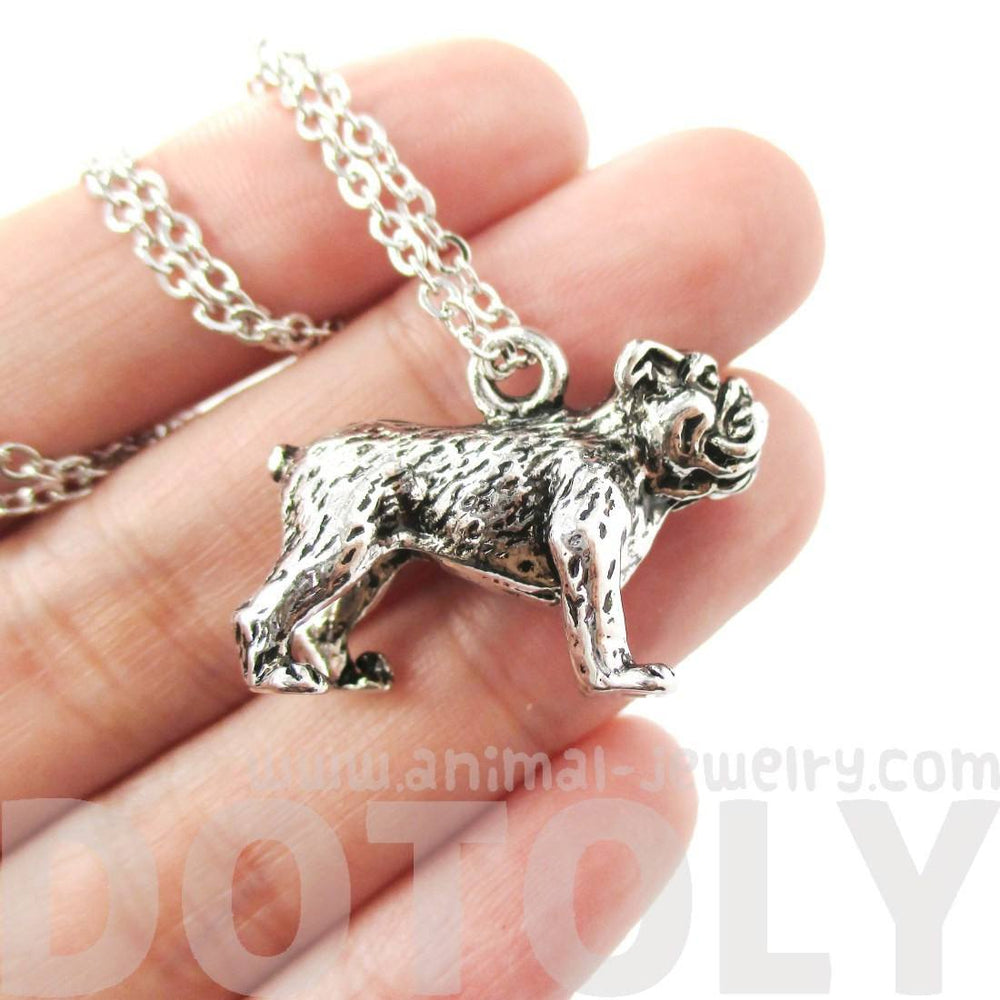 3D Realistic Bulldog Shaped Animal Pendant Necklace in Shiny Silver
