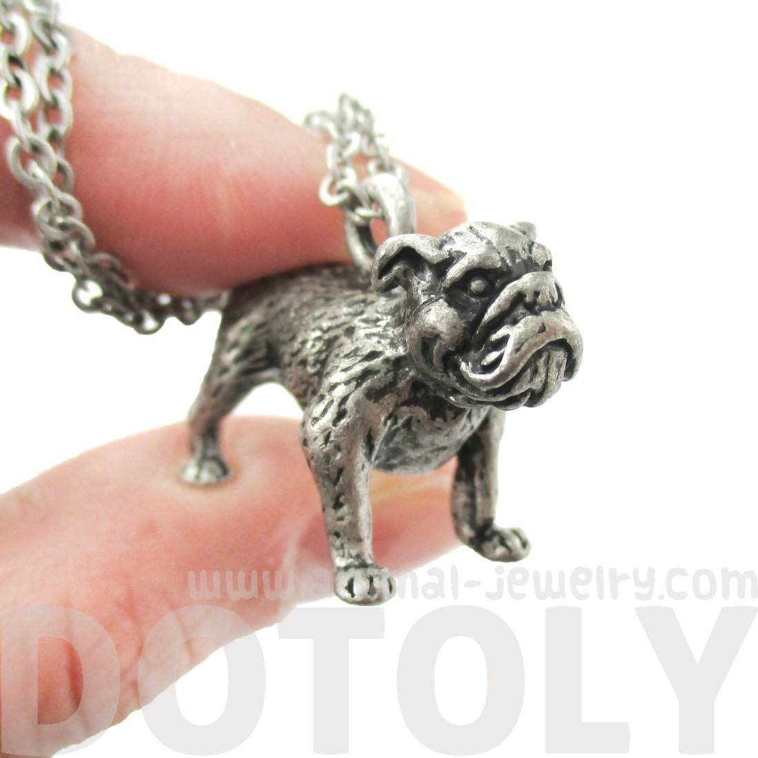Realistic Life Like Bulldog Shaped Animal Pendant Necklace in Silver