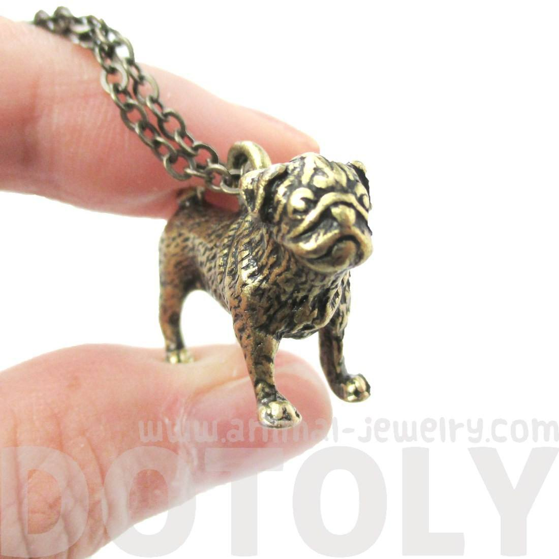 3D Realistic Life Like Pug Shaped Animal Pendant Necklace in Brass