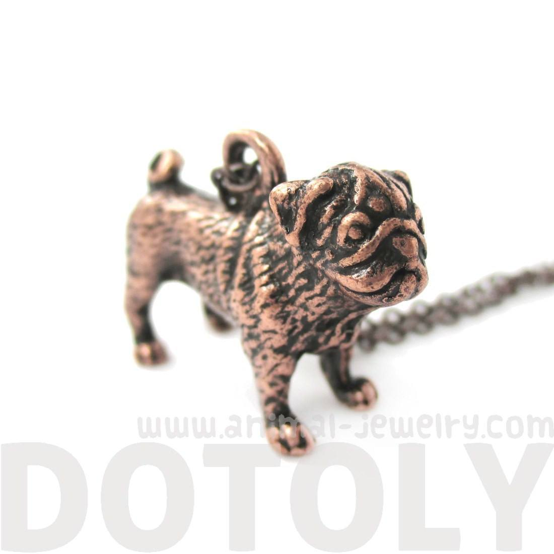 3D Realistic Life Like Pug Shaped Animal Pendant Necklace in Copper