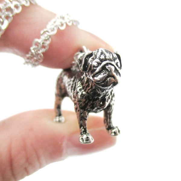 Realistic Life Like Pug Shaped Animal Pendant Necklace in Shiny Silver | Jewelry for Dog Lovers | DOTOLY