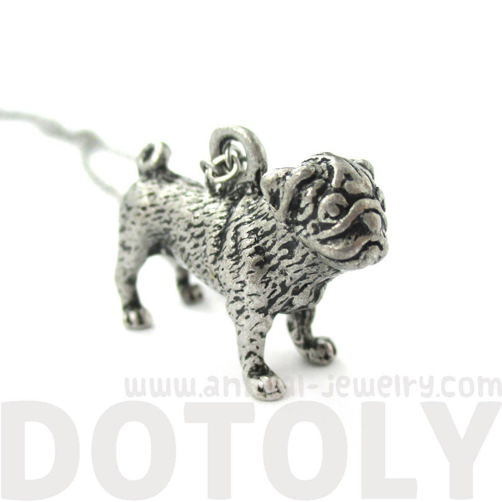 3D Realistic Life Like Pug Shaped Animal Pendant Necklace in Silver