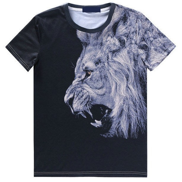 Realistic Lion Face Graphic Tee T-Shirt in Black