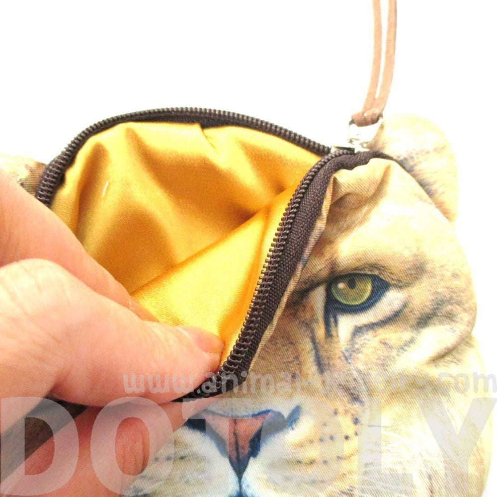 Realistic Lion Face Shaped Soft Fabric Zipper Coin Purse Make Up Bag