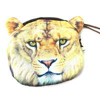 Realistic Lion Face Shaped Soft Fabric Zipper Photo Print Coin Purse Make Up Bag | DOTOLY