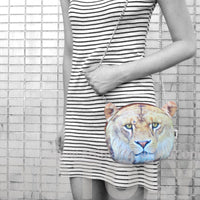 Realistic Lion Face Shaped Photo Print Cross Body Shoulder Sling Bag