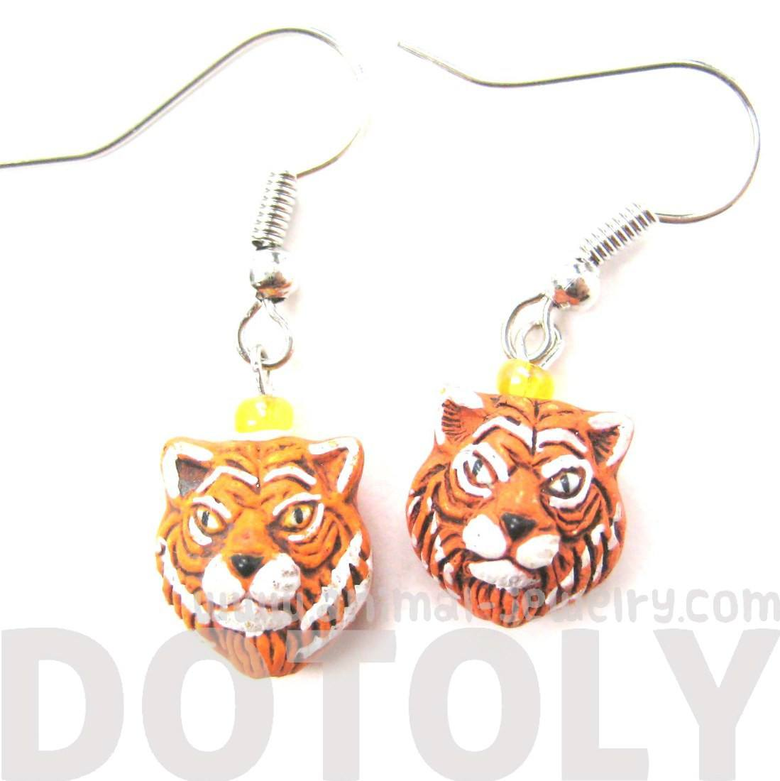 Realistic Tiger Head Shaped Porcelain Ceramic Animal Dangle Earrings