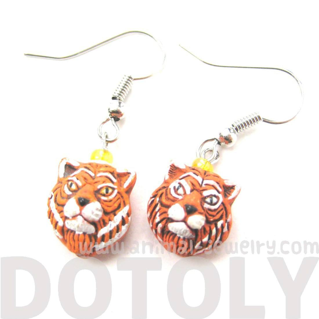 Realistic Lion Head Shaped Porcelain Ceramic Animal Dangle Earrings