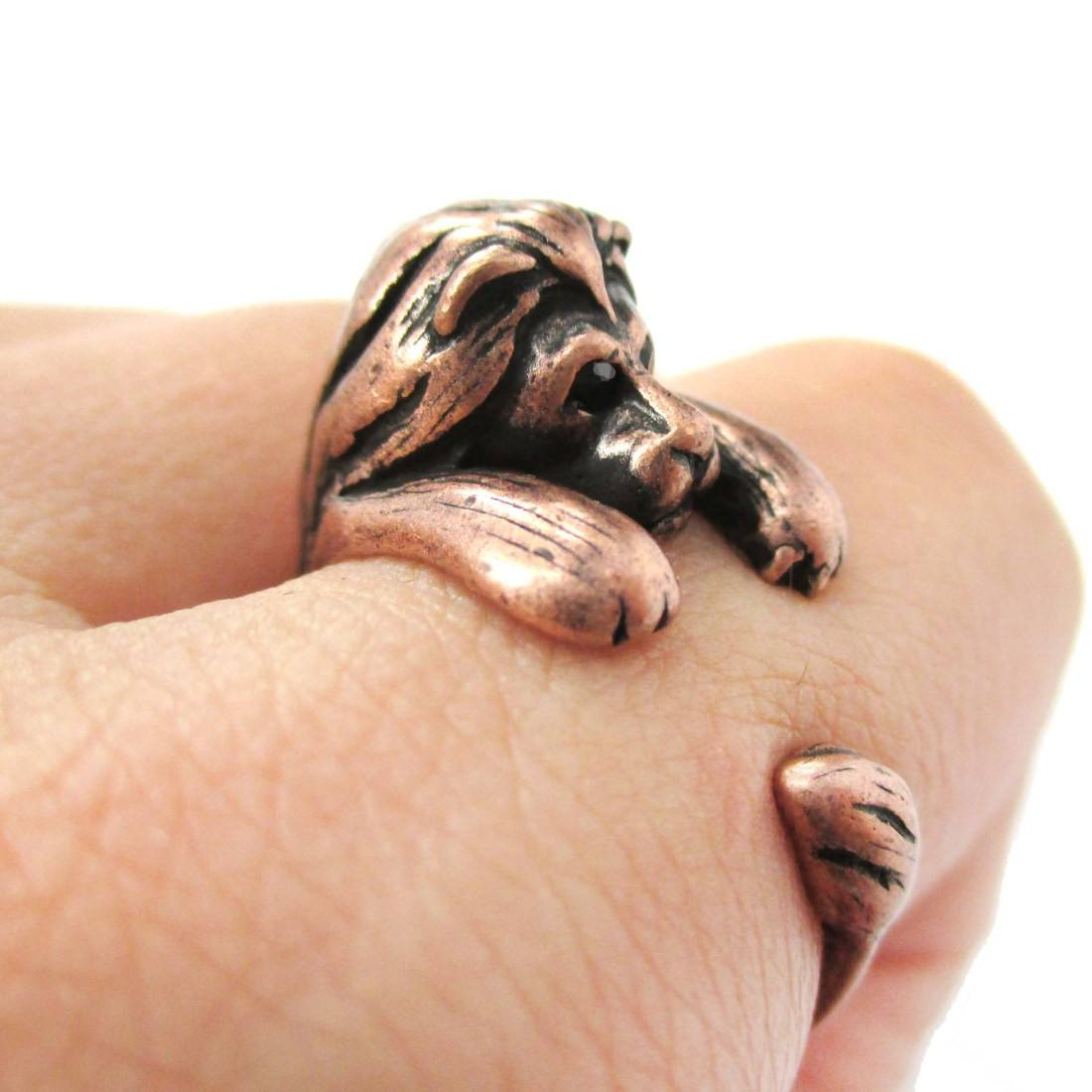 Realistic Lion Shaped Animal Wrap Around Ring in Copper | Sizes 4 to 9