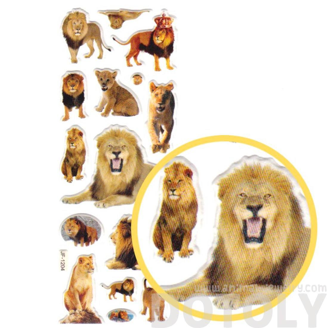 Realistic Lions and Lion Cubs Shaped Animal Themed Photo Stickers
