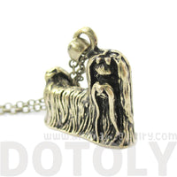 Realistic Maltese Puppy Dog Shaped Animal Pendant Necklace in Brass
