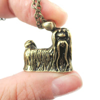 Realistic Long Haired Maltese Puppy Necklace in Brass | Jewelry for Dog Lovers | DOTOLY