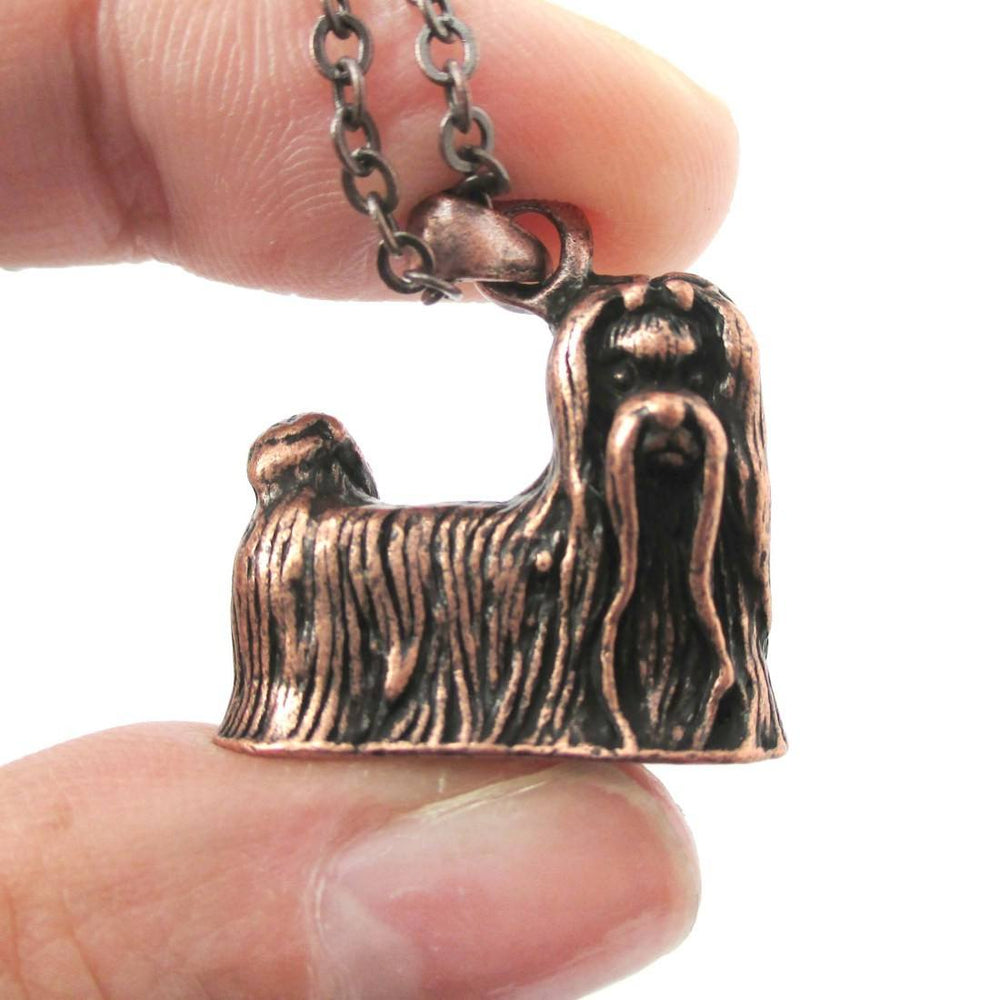 Realistic Maltese Puppy Dog Shaped Animal Pendant Necklace in Copper