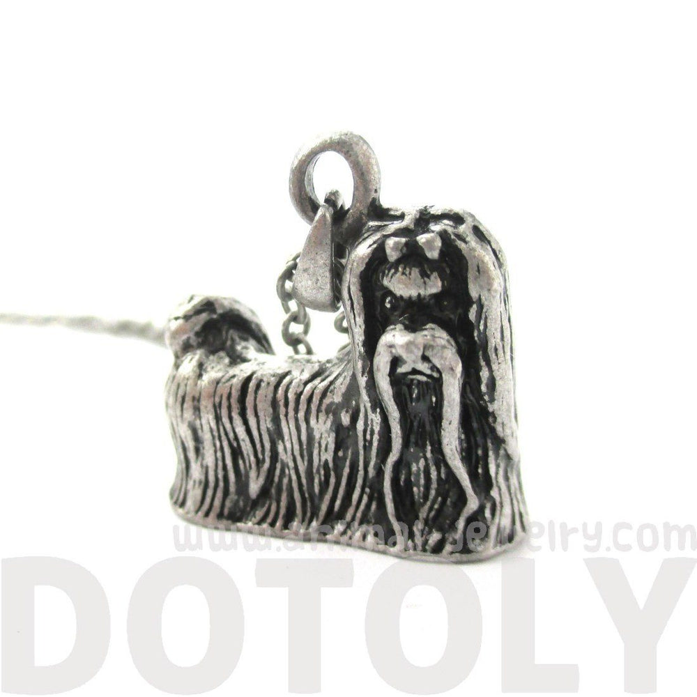 Realistic Maltese Puppy Dog Shaped Pendant Necklace in Shiny Silver