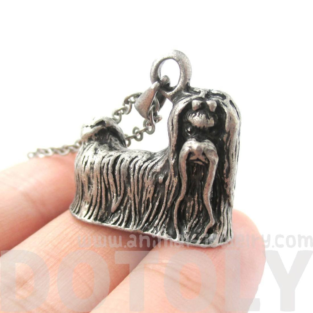 Realistic Maltese Puppy Dog Shaped Animal Pendant Necklace in Silver