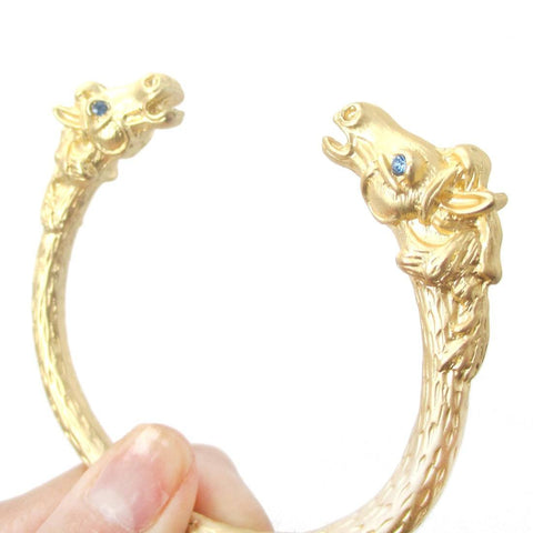 Realistic Horse Head Shaped Luxe Animal Bangle Bracelet Cuff in Gold