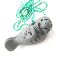 Realistic Manatee Sea Cow Shaped Porcelain Ceramic Pendant Necklace