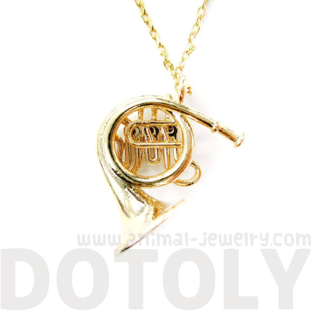 Miniature French Horn Musical Instrument Charm Necklace in Gold