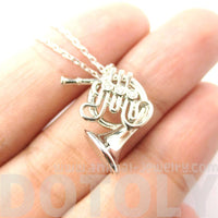Miniature French Horn Musical Instrument Shaped Charm Necklace