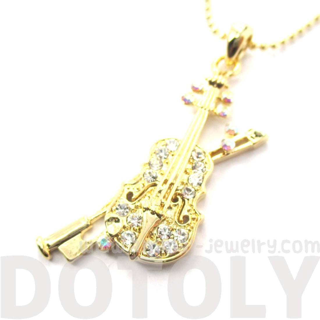 Violin Musical Instrument Shaped Gold Pendant Necklace