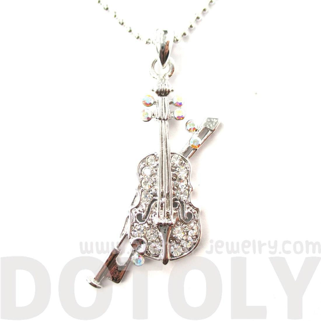 Violin Music Instrument Shaped Silver Pendant Necklace