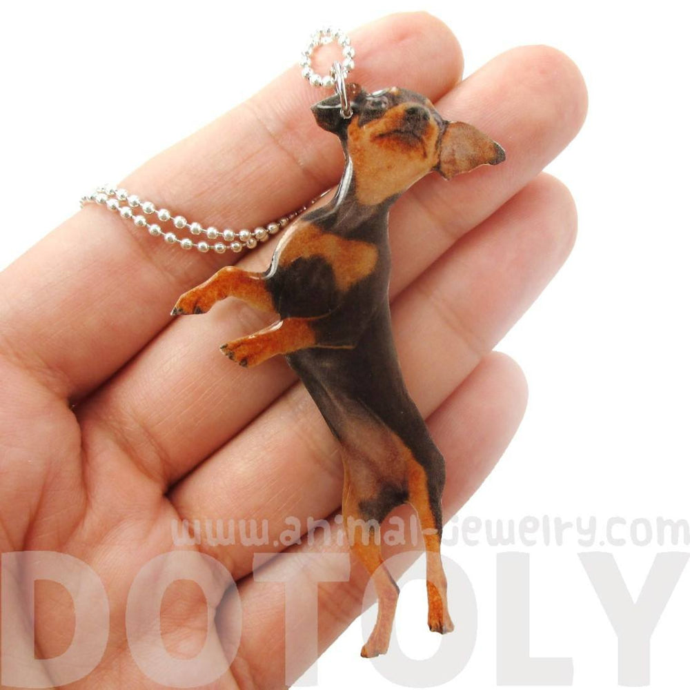 Realistic Miniature Pinscher Puppy Dog Jumping Shaped Pendant Necklace