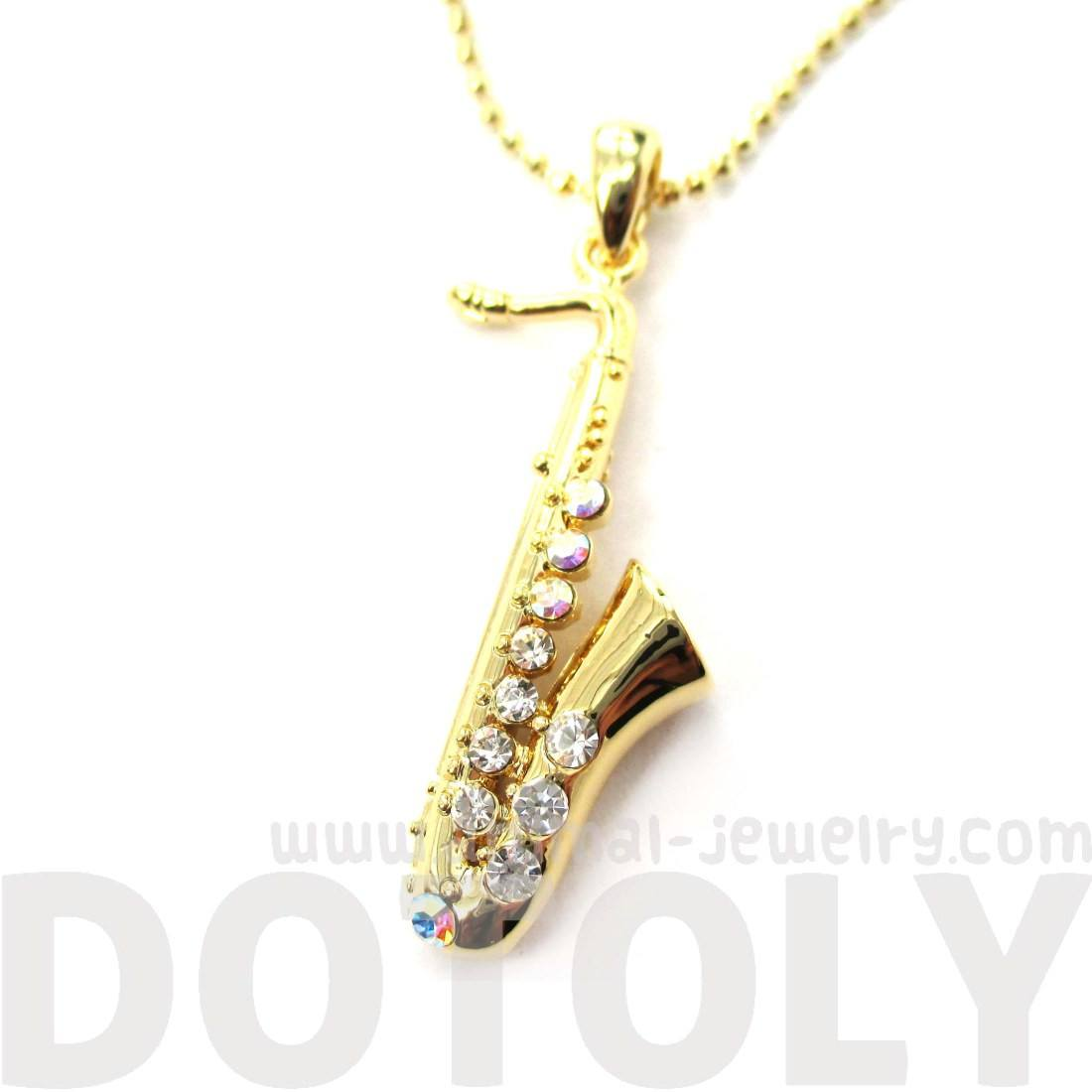 Saxophone Musical Instrument Shaped Necklace in Gold