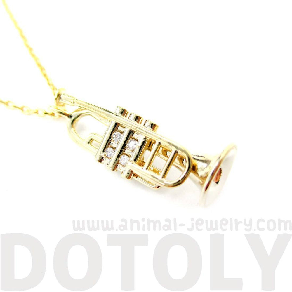 Miniature Trumpet Musical Instrument Shaped Charm Necklace in Gold