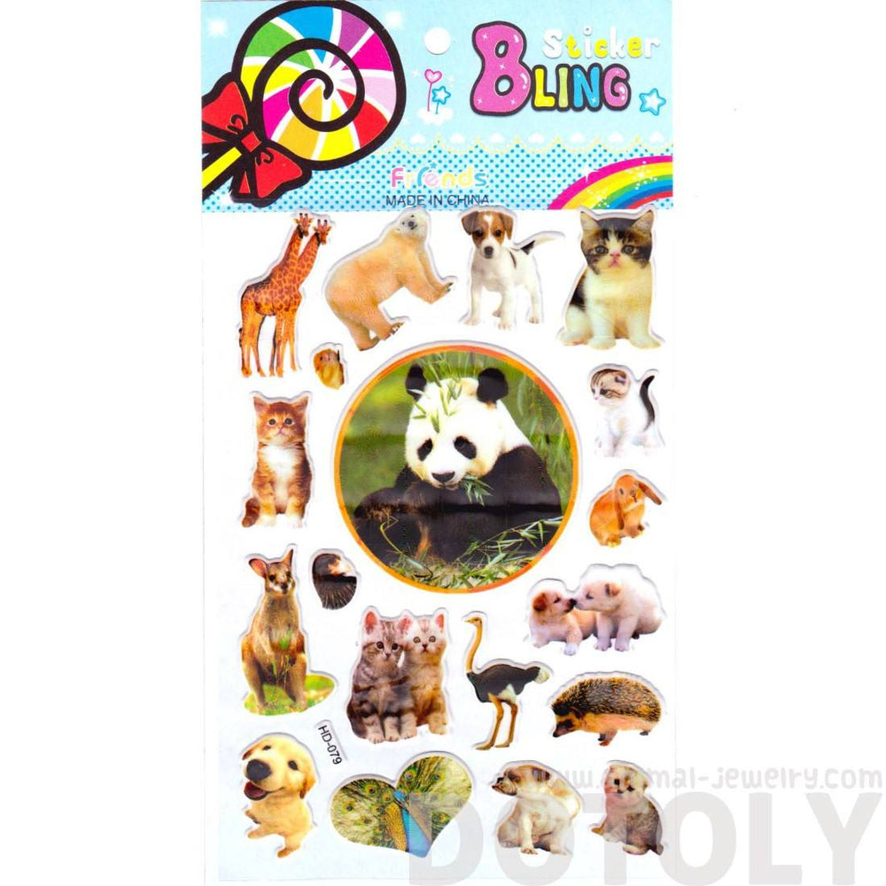 Realistic Mixed Animal Panda Cat Giraffe Dog Polar Bear Photo Stickers