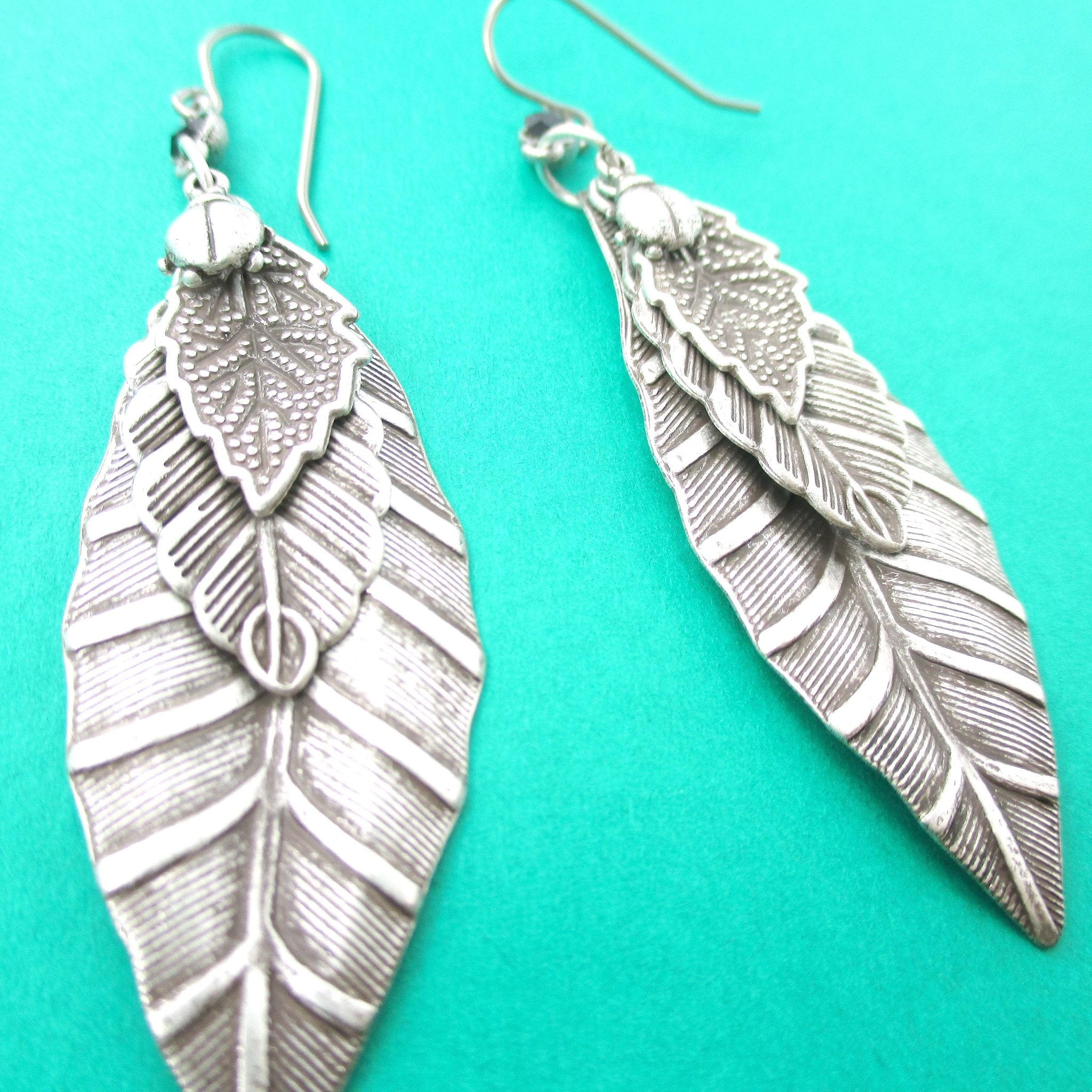 Realistic Mixed Leaves Shaped Nature Inspired Dangle Earrings