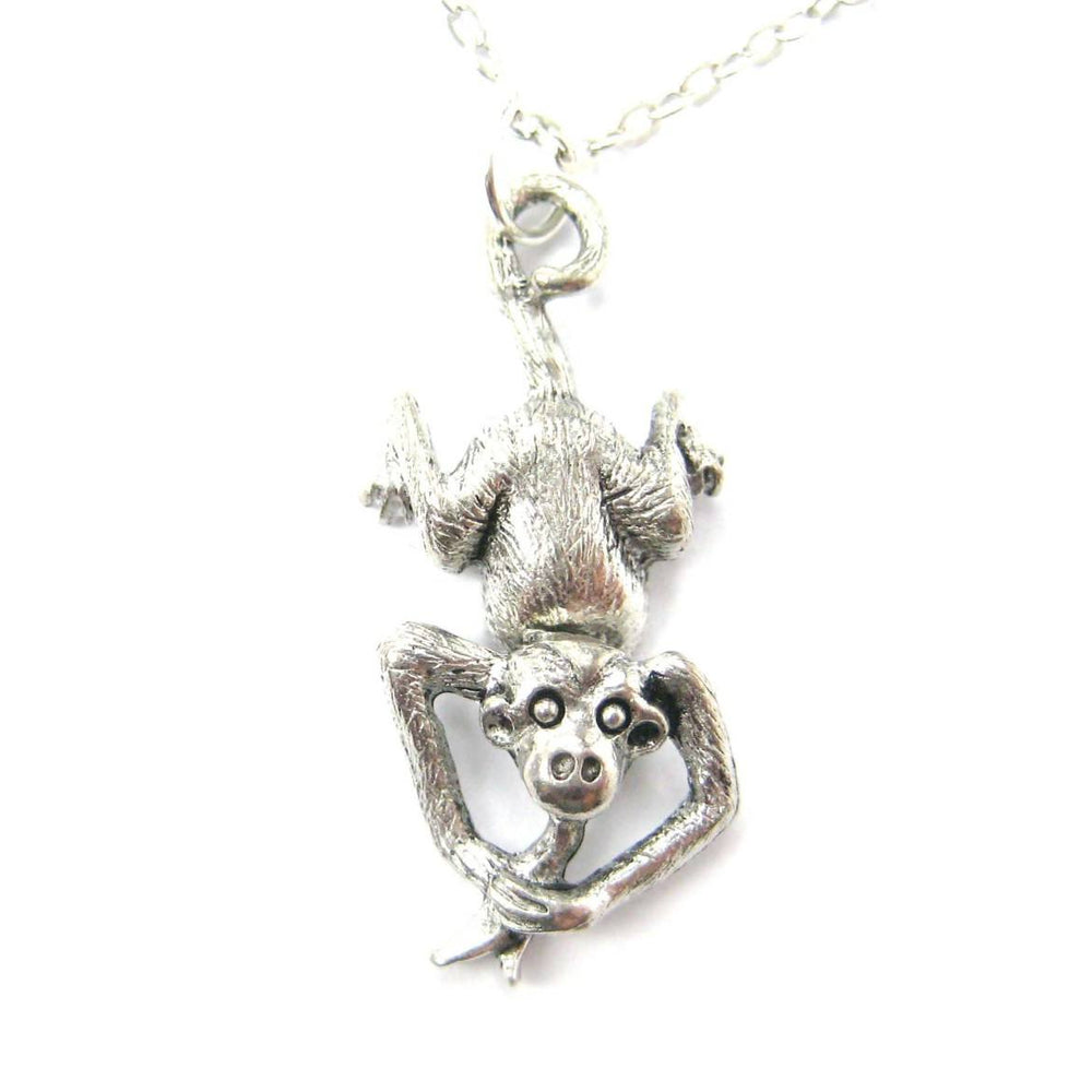 Realistic Monkey With A Banana Shaped Dangling Animal Charm Necklace | MADE IN USA | DOTOLY
