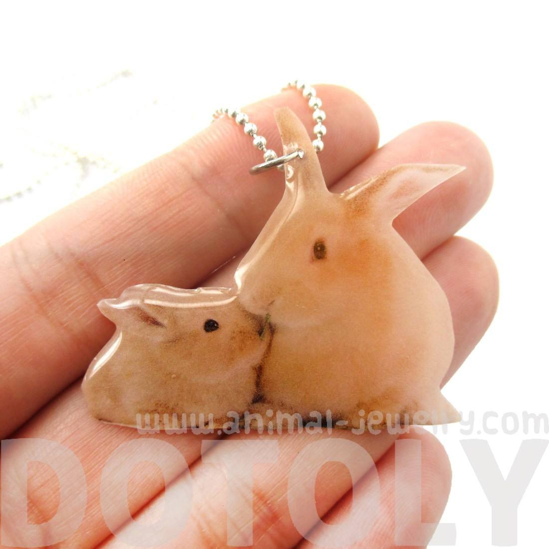 Realistic Mother and Baby Bunny Rabbit Animal Shaped Pendant Necklace