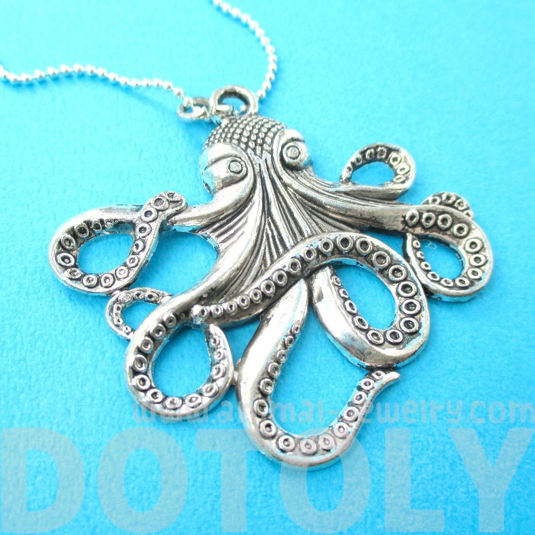 Realistic Octopus Kraken Sea Creature Pendant Necklace in Silver