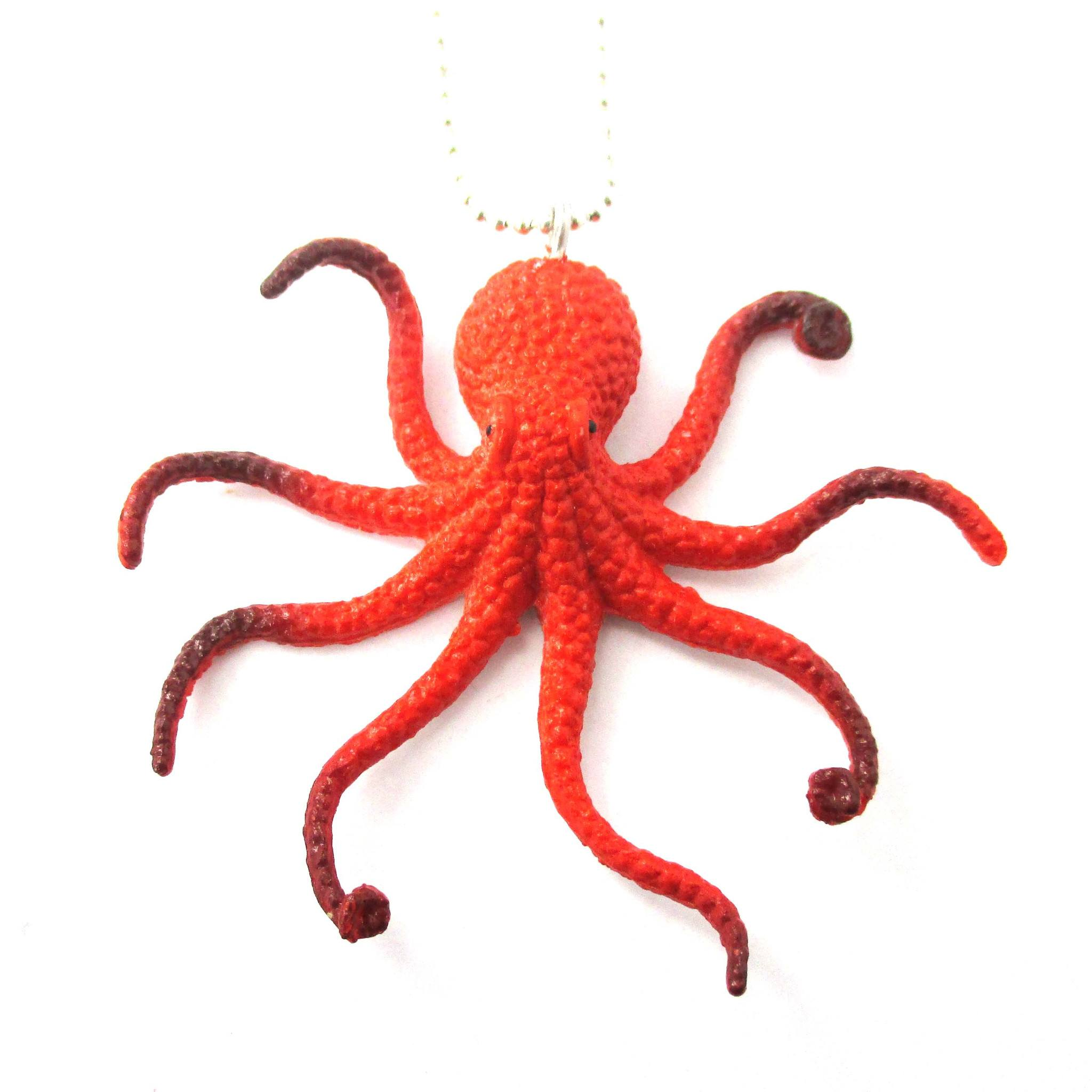 Realistic Octopus Shaped Animal Figurine Pendant Necklace in Orange