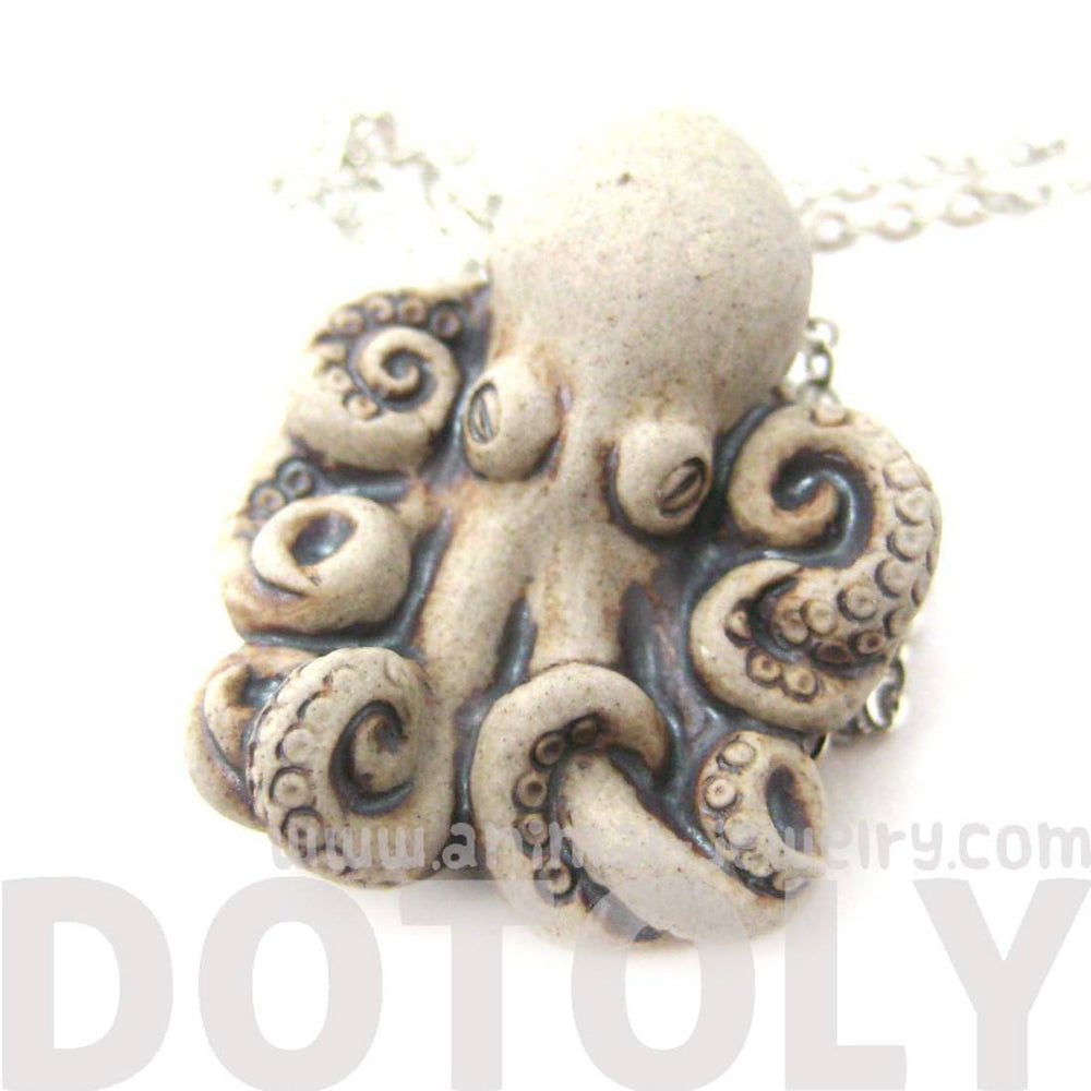 Realistic Octopus Shaped Porcelain Ceramic Pendant Necklace | Handmade