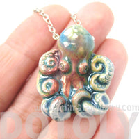 Realistic Octopus Shaped Porcelain Ceramic Multicolored Animal Pendant Necklace | Handmade | DOTOLY