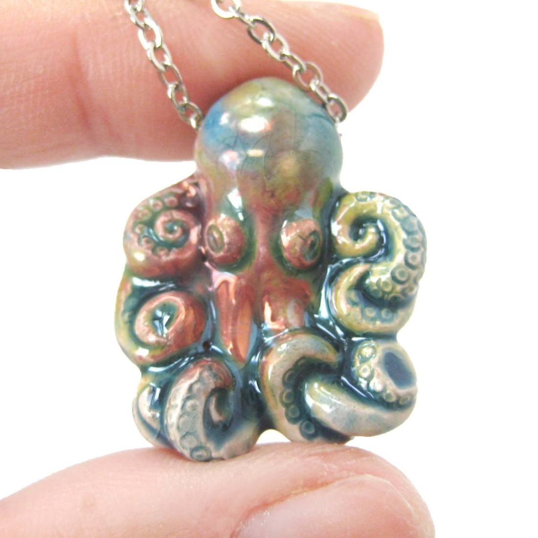 Octopus Shaped Porcelain Ceramic Multicolored Animal Pendant Necklace