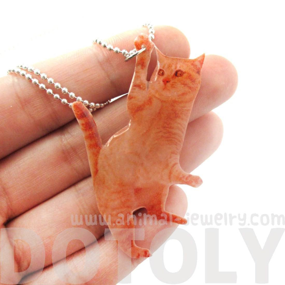 Realistic Orange Tabby Kitty Cat Shaped Dangling Pendant Necklace