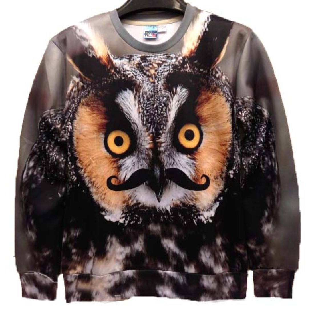 Realistic Owl Face with Mustache Graphic Print Unisex Pullover Sweater