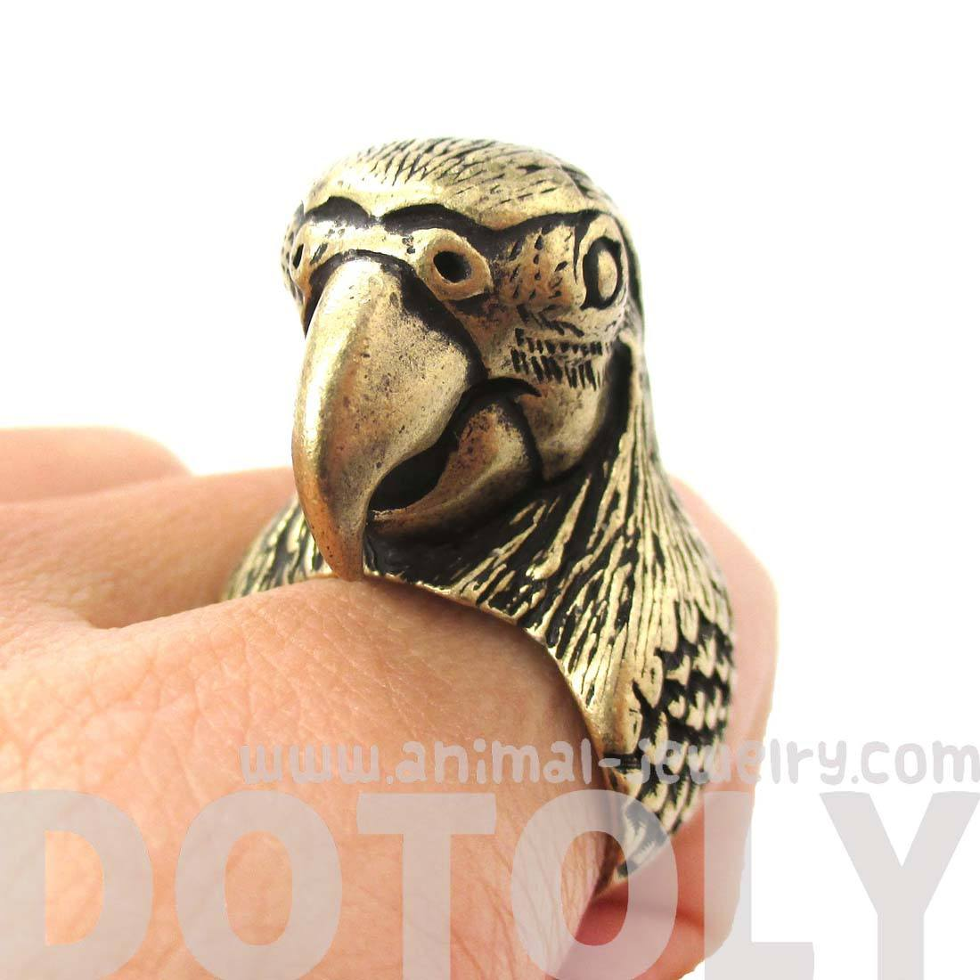 Realistic Parrot Bird Shaped Animal Wrap Around Ring in Brass