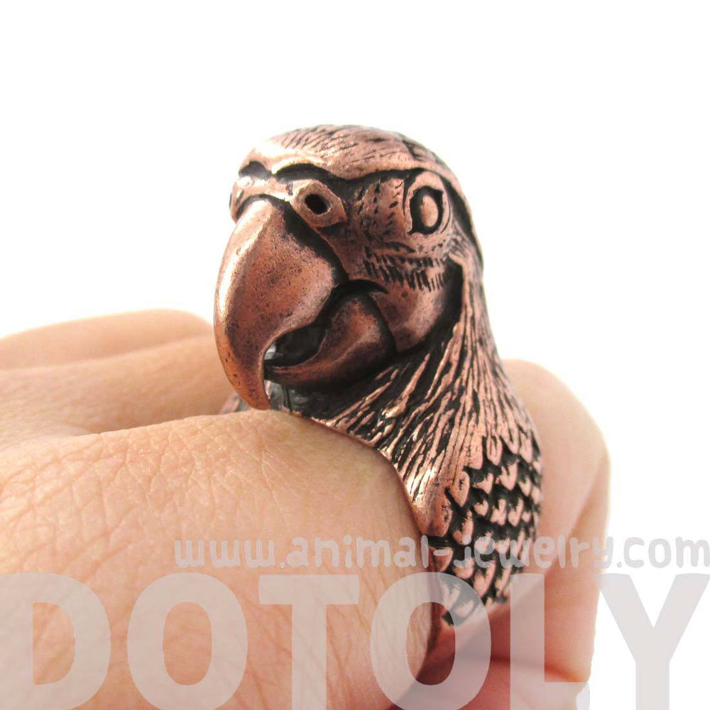 Realistic Parrot Bird Shaped Animal Wrap Around Ring in Copper