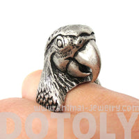 Realistic Parrot Bird Shaped Animal Wrap Around Ring in Silver