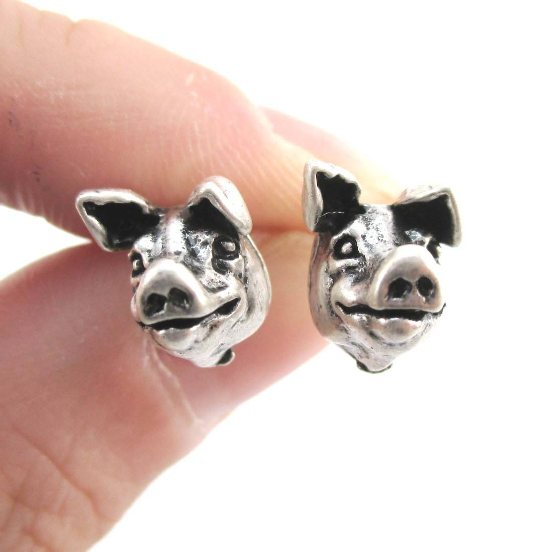 Realistic Piglet Pig Farm Animal Shaped Stud Earrings