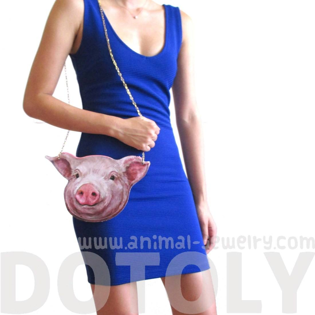 Piglet Pig Face Shaped Vinyl Animal Themed xBody Bag